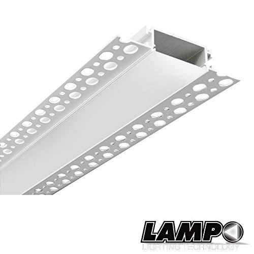 Lampo Kit Profilo In Alluminio Taglio Di Luce XL Maggiorato 2 Metri Per Controsoffitto A Scomparsa