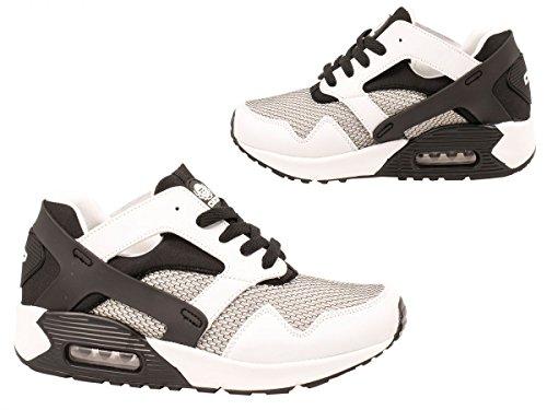 Sportschuhe Turnschuhe Herren Elara Weissschwarz Trendy Sneaker Fitness Schnürer qXdUwTI