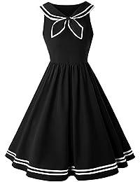 58b9a7b54e3 ZAFUL Women Vintage Dress 1950s Nautical Style Summer Sailor Collar  Sleeveless Cute Cocktail Party Swing Dresses