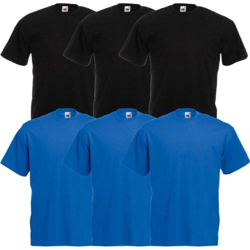 Fruit of the Loom Original Valueweight T Rundhals T-Shirt F140 3er 6er 9er 12er Pack 3x black 3x royal blue
