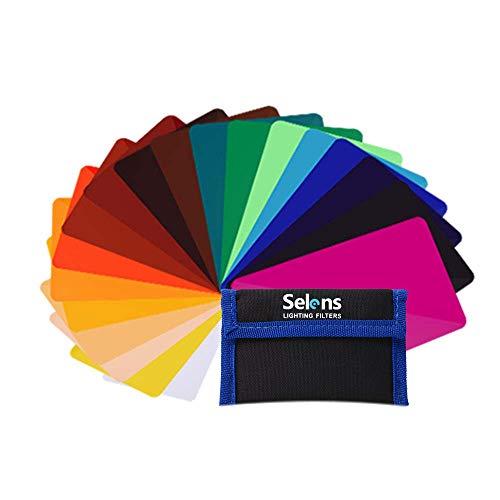 Selens - 20 Piezas Gel Filtro Iluminación Universal para Flash Speedlite Cámara, 9.5 x 6.5 cm Lámina de plástico de iluminación de corrección de Color Transparente