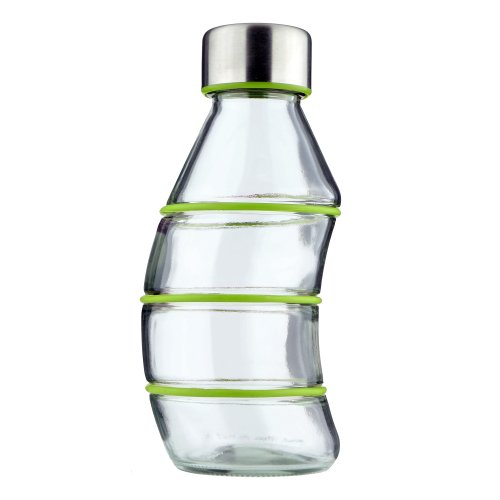 GREEN 350ml Glass Drinking Bottle \'Curvy\' - Non-Slip Silicone Ringed Grips - BPA Free - 100{106aed9793348615d28bda4dfcf5b3f54e136496c5e60640d14777e65055eab9} Recyclable