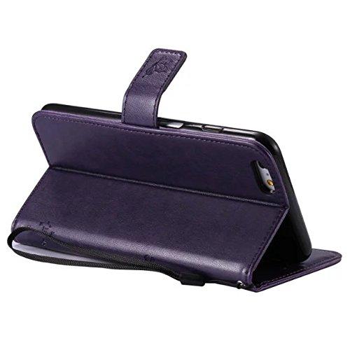 JIALUN-Telefon Fall Mit Kartensteckplatz, Lanyard, Druck Schöne Muster Mode Open Handy Shell Für IPhone 6s Plus ( Color : Blue ) Purple