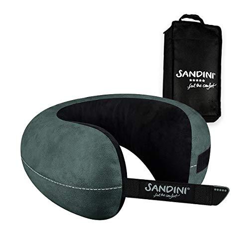 SANDINI TravelFix Regular Size - Mikrofaser - Premium Reisekissen mit Verschluss/Nackenkissen mit ergonomischer Stützfunktion - Gratis Tra...