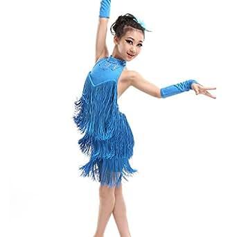 BOBORA Ragazze Tassel ballo latino abito bambini Costume Dancewear abiti 5-11 anni