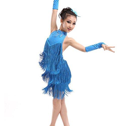 Mädchen Troddel Lateinisches Salsa Tanz Kleider Sleeveless Halter Tanz Kostüm 4-11 (Kostüme Halter Tanz)