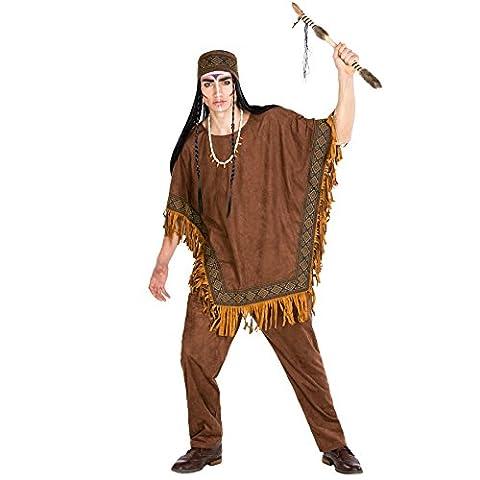 Herrenkostüm Häutpling | Kostüm + Poncho und elastisches Haarband | Indianer Indianerin Verkleidung (XXL | Nr.