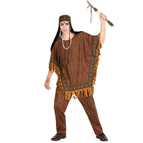 Herrenkostüm Häutpling | Kostüm + Poncho und elastisches Haarband | Indianer Indianerin Verkleidung (XXL | Nr. 300680) (Hot Sexy Cowgirl Kostüme)