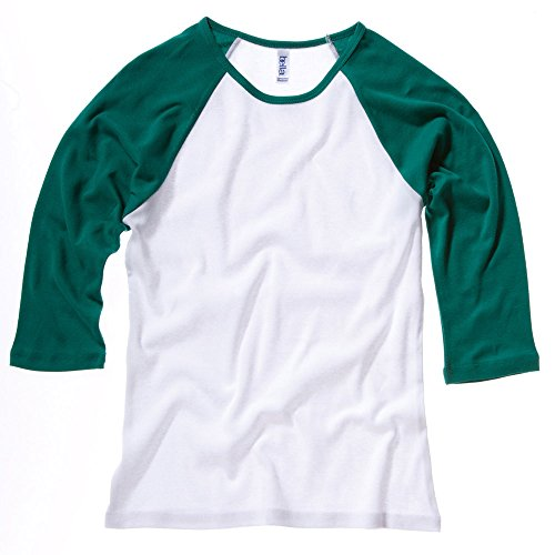 Bella Canvas Baby Rib 3/4 Sleeve Raglan Contrast T-Shirt Weiß - White/Kelly