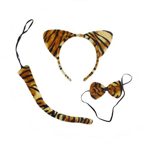 Niedlichen Tiere Kitty Katzenohren Stirnband Bogen Krawatten Schwanz Set Party Cosplay Kostüm, 3 Pack (Tiger Streifen) ()
