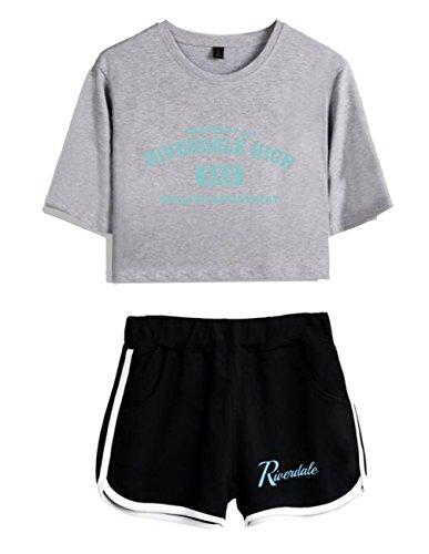 ZIGJOY Riverdale Crop Top T-Shirts und Shorts Kleidung Anzug für Mädchen und Frauen M
