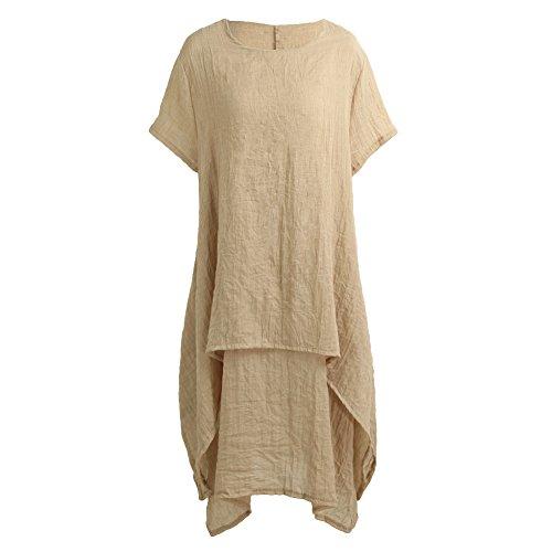 Romacci Women Casual Loose Dress Solid Short Sleeve Cotton Linen Asymmetrical Boho Midi Long Dress Red/Grey/Khaki