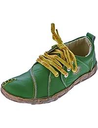 29300ef4916107 TMA Damen Leder Schuhe Comfort Sneakers Turnschuhe Grün Schwarz Rot  Ziernähte Gelb Eyes