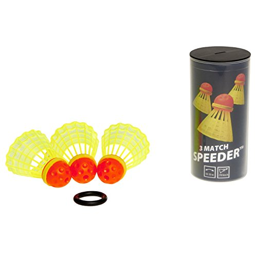 Speedminton® MATCH Speeder® - 3er Pack Speed Badminton/Crossminton original Wettkampfball inkl. Windring