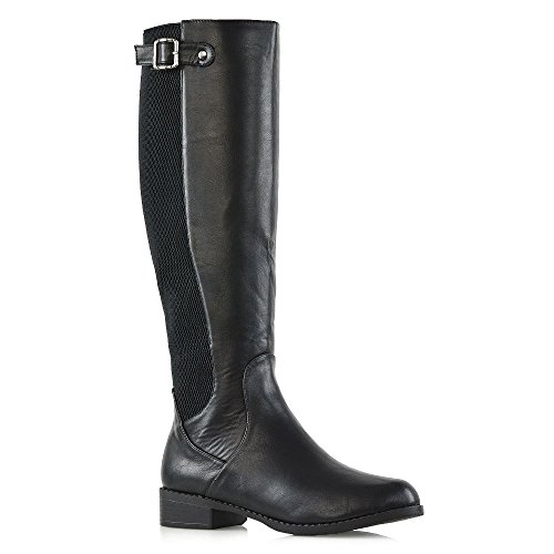 New Womens Knee High Stretch Calf Flat Low Heel Zip Ladies Riding Casual Boots