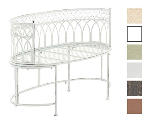 CLP Metall-Gartenbank AMANTI mit Armlehne, Landhaus-Stil, Eisen lackiert, Design antik nostalgisch, Form oval ca. 110 x 55 cm Antik Weiß