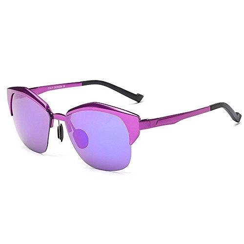 Machst du Sport? Outdoor sunglasse Aviator Sonnenbrillen für Frauen, halb umrandete Fahrbrillen, UV400-Schutz (Color : Purple)
