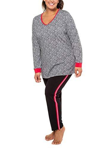 Ulla Popken Damen Pyjama, Blätter Zweiteiliger Schlafanzug, Schwarz (Schwarz 10), (Herstellergröße: 54+)