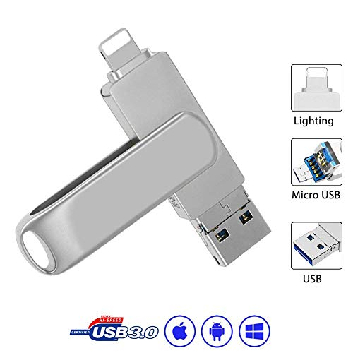 Externer Speicherstick iPhone, USB 3.0 Stick- 32GB Memory Stick Metall USB Stick 3.0 iUSB Flash Drive für iOS Notebook Android Silber