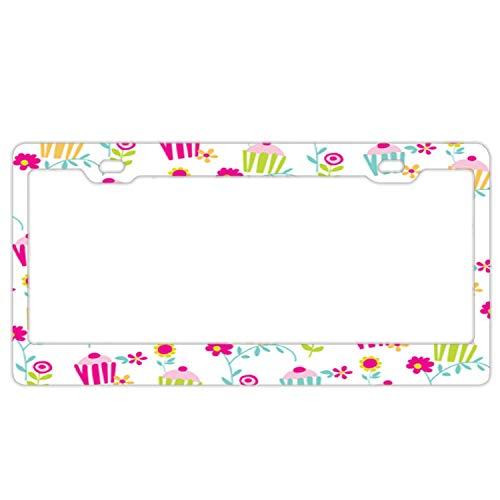 (Barnettplate frames Edelstahl-Nummernschild-Rahmen, 2 Löcher, für Autokennzeichenhalter für Frauen, US-Standard, Cute Cupcakes)