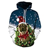 MTUZENDEE Herren Pullover 3D Druck Hoodies Weihnachten Kapuzenpulli Sweatshirt Kapuzenjacke (Weiß, L-XL)