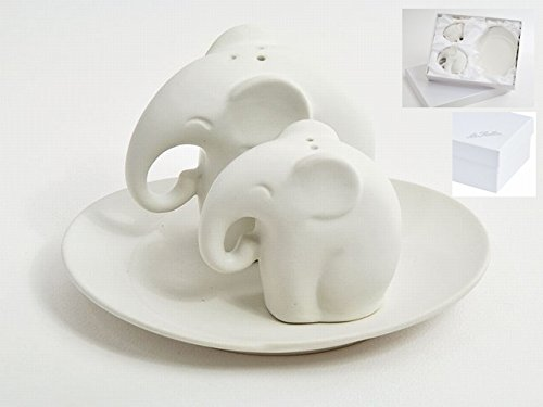 Bonboniere Favors Wedding Hochzeit Salz Pfefferstreuer Keramik Paar Elefanten dgs3578