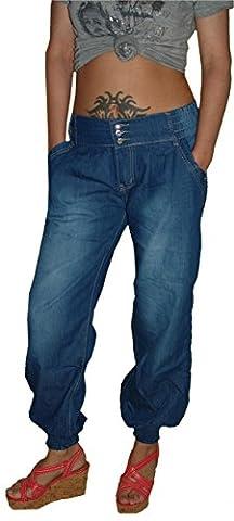 Miss One Damen Pluder Jeans Hose, blue, M-240, Gr.40