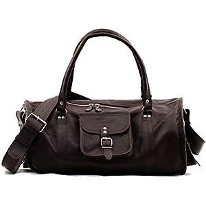 LE VOYAGEUR (L) bolso de viaje de cuero estilo vintage marrón oscuro PAUL MARIUS