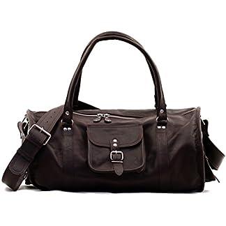 LE VOYAGEUR (L) bolsa de viaje de cuero estilo vintage marrón oscuro PAUL MARIUS