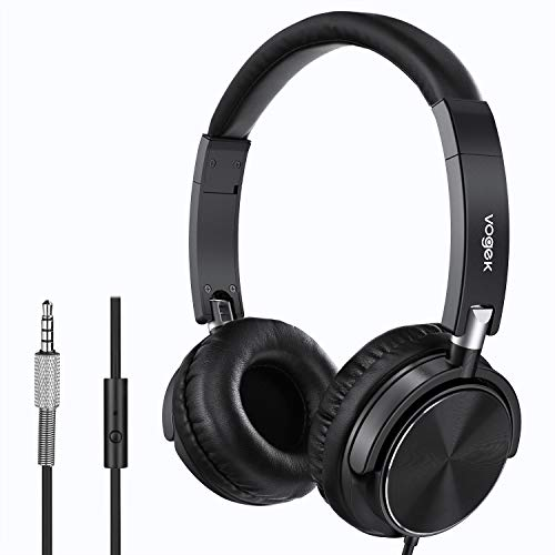 Tv-handy (Faltbare Kopfhörer, Vogek Kopfhörer leicht faltbar mit Laustärkebegrenzung Musik Headsets 3,5mm On Ear Wired Headset Kompakte auf Ohr Stereo Ohrhörer für TV, Handy, Laptop and andere Geräten)