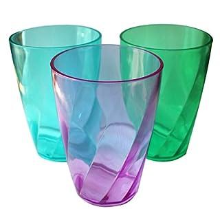 Verres colorés en plastique réutilisable 450 ml 9 pièces - Style Cristal Gobelets pour à eau,à whisky,cocktail - Tasse set pour Fêtes,Mariages,Camping,Pique-Niques - lave-vaisselle coffre-fort