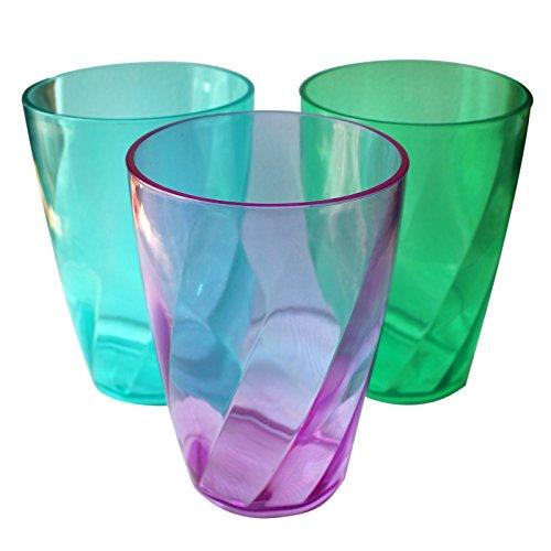 Bier-turm-spender (9 Kunststoff-Trinkgläser im Kristallglasstil, Becher-Set von Belle Vous - farblich sortiert – wiederverwendbare Becher für Partys, Hochzeiten, Campingausflüge u. Picknick – Geschirrspüler geeignet)
