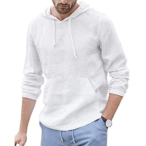 DNOQN Oversize T Shirt Herren Cashmere Pullover Slim Fit Bluse Herren Baggy Baumwolle Leinen Kapuzen Tasche Solide Langarm Retro T Shirts Tops XXL