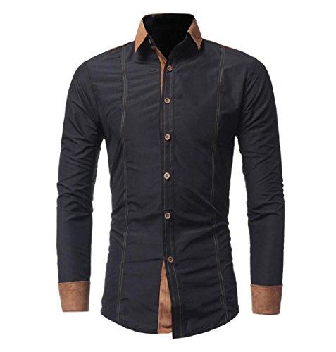 Herren Hemd mit Kontrasten Freizeit | ZEZKT-Herren Slim Fit Langarm Shirts Business Bügelleicht (XL, Schwarz)