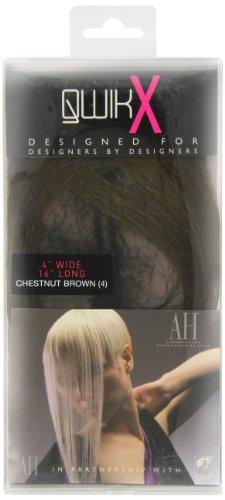 American Dream - AH/A1/QX/16/4 - Qwik X - 100 % Cheveux Naturel - Indien Remi Extensions - Couleur 4 - Brun Châtain - 41 cm