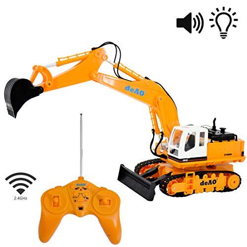 deAO Rcdgee 6canali telecomando Construction Bulldozer Digger Escavatore Truck con luci e suoni, Rcdg