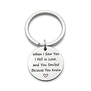 When I Saw You I Fell in Love Romantic Valentine's Day Stainless Steel Keychain Key Ring