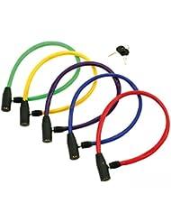 Candado de ACERO con LLAVE 58 cm Forrada de PVC Bicicleta Color VERDE 3846verde