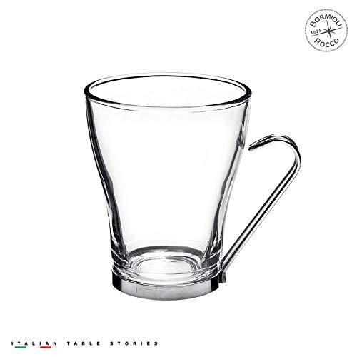 Fitting Gifts Bistro Collection Tasses à Cappuccino en Verre avec Anses en Acier Inoxydable 22cl (Lot de 4)