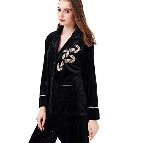 Yijiayu Frauen-Pyjamas Gold-Samt-Pyjamas Langärmeliger Winterpyjamas für Damen Home-Service-Anzug (Color : Green, Size : XL (170))