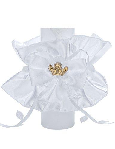 Tropfschutz für Tauf- und Kommunionskerzen von Princess Taufkleid - Modell 9  Tropfenfänger für Kerzen bis 50mm Durchmesser   Weißer Kerzenrock aus Satin mit farblichen Verzierungen