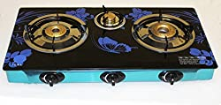 Akshat Glass Cooktop Stainless Steel Manual Gas Stove 3 Burner Graphic Print Steel Manual Gas Stove (3 Burners)
