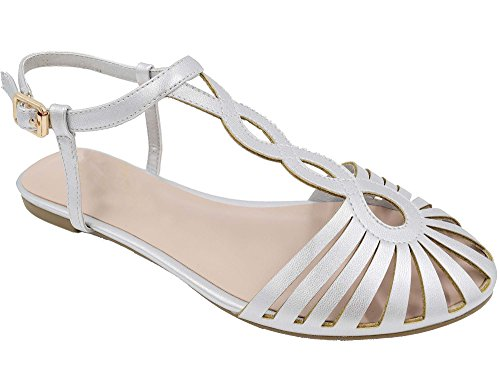 MaxMuXun Chaussures Femme Sandales Plates Coupé EU 36-41 Argent