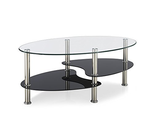 Vida Designs Cara Glass Coffee Table with ovale Stainless Steel Legs, Clear/Black by Vida Designs