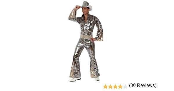 XS-S 38994 Atosa-38994 Atosa-38994-Costume-D/éguisement Disco Adulte Argent Homme