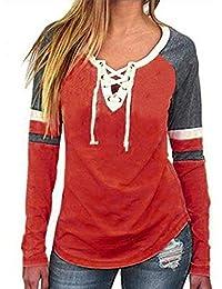 ABsoar Blusen Damen Langarmshirt Frauen Mode V-Ausschnitt Shirts Patchwork  Langarm Lose Tops T- 0837aa9b34