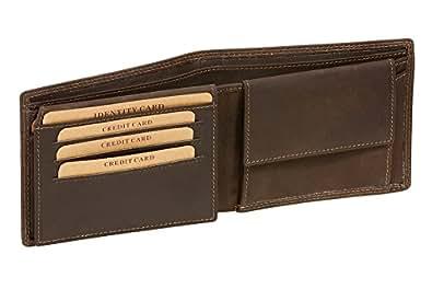 Geldbörse dünn mit Klappe Scheintasche LEAS MCL im Vintage-Stil in Echt-Leder, braun - LEAS Basic-Vintage-Collection