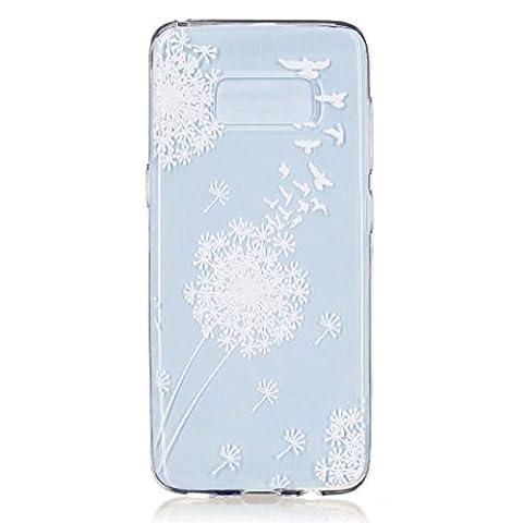 MUTOUREN TPU coque pour Samsung Galaxy S8 silicone transparent Crystal cover case protection Anti-poussière housse etui Anti-shock case étanche Résistante Très Légère Ultra Slim cas Soft bumper doux Couverture Anti Scratch-pissenlit blanc