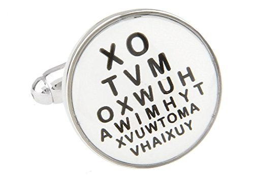 MRCUFF Eye Chart Optometrists Paar Manschettenknöpfe in Einer Geschenkbox und Reinigungstuch -