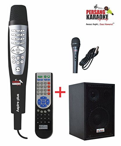 Persang Karaoke Aspire Plus 8161-EX Dual Wired Karaoke Microphone Player with Bass Hunter Karaoke Speaker (Black)